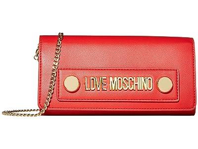 LOVE Moschino Love Log Stud Chain Wallet (Red Small Grain PU) Handbags
