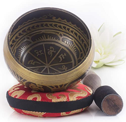 Silent Mind ~ Tibetan Singing Bowl Set ~ Antique Design ~ With Dual Surface Mallet and Silk Cushion ~ Promotes Peace,...