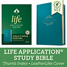 Tyndale NLT Life Application Study Bible, Third Edition (LeatherLike, Teal Blue, Indexed) NLT Bible with Thumb Index, Updated Notes and Features, Full Text New Living Translation