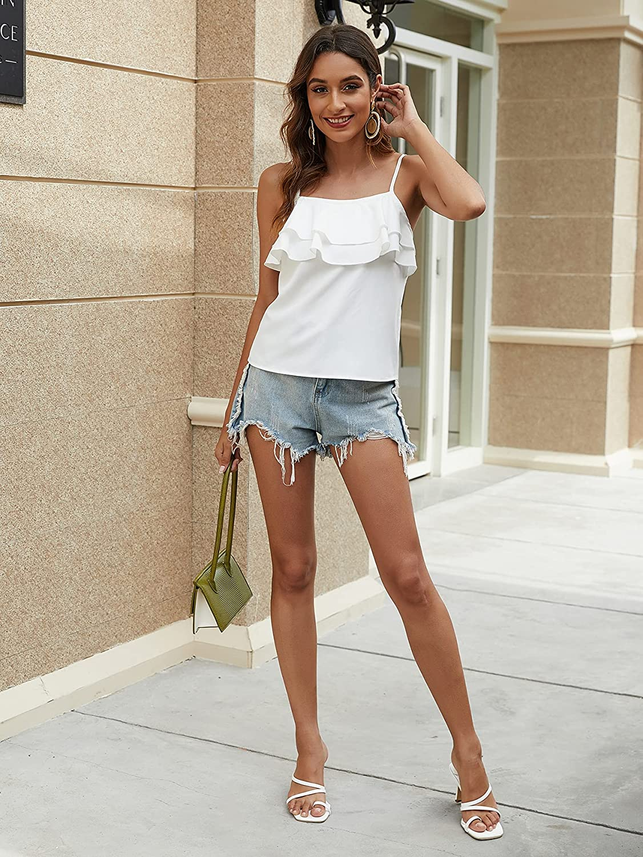 SweatyRocks Women's Spaghetti Straps Layered Cami Top Ruffle Trim Vest Shirt