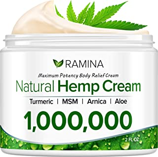 Ramina Natural Hemp Extract Pain Relief Cream - 1,000,000 - Made in USA - Potent Turmeric, MSM & Arnica - Relieves Inflammation, Muscle, Joint, Back, Knee, Nerves & Arthritis Pain - Non-GMO - 2 fl. oz