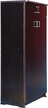 Hudson Mark Wooden Shoe Case Almirah Storage Organizer/Double Door Cupboard Stand w/Rack Shelves/Media Cabinet Furniture-Dark