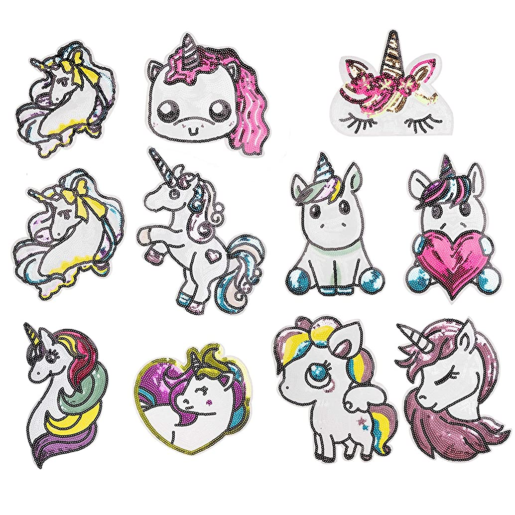Cacluls Iron on Unicorn Sequin Appliques Set of 9 Cute Sequin Patches for Children Bags and Tops