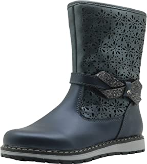 shangruiqi Little Kid's Shoes Girl's Snow Boot Side Zipper Closure & Non-slip Leather Booties Woolen Lining Bowknot Decor Abrasion Resistant ( Color : Blue , Size : 12.5 UK )
