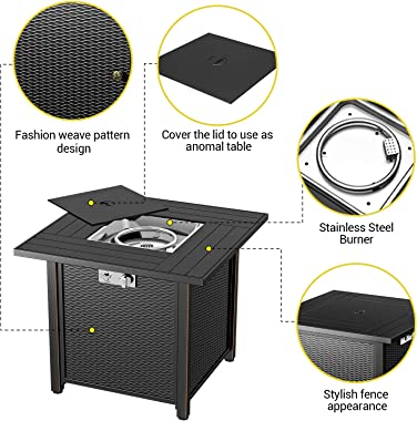 """BLUBERY 30"""" Propane Fire Pit ,50,000 BTU Outdoor Fire Pit Table.Wicker Steel Surface ,Auto-Ignition,ETL Compliant,Your Ga"""