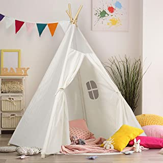 Kids Teepee Tent Children Play Tent 5 ft Raw White Cotton Canvas Four Wooden Poles Thick..