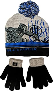 Black Panther Beanie Winter Hat and Gloves Cold Weather Set, Age 5-13