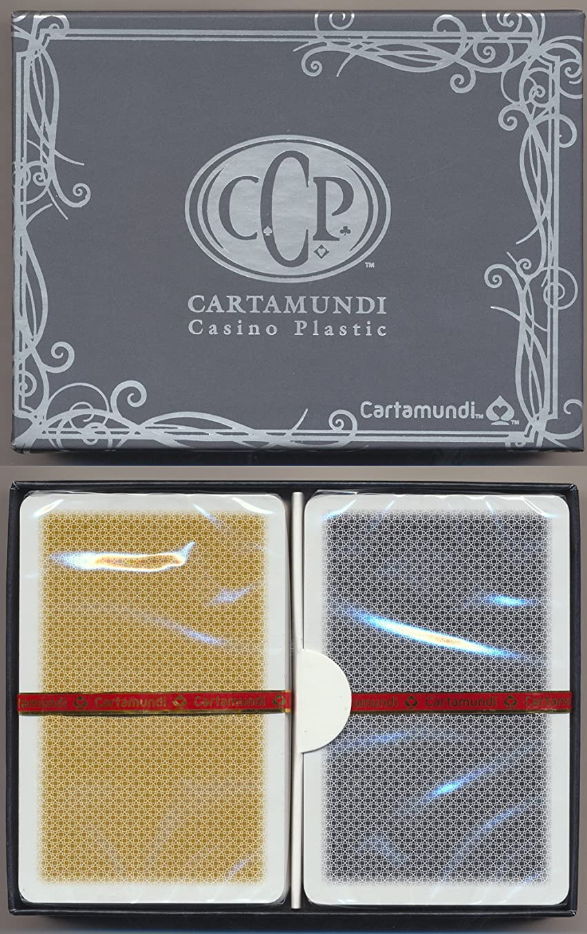 Cartamundi 100% Plastic Setup - 2 Decks - Black & Gold Deck - Bridge Size - Standard Index - Casino Quality