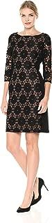 Nine West Women's Medallion Lace Ponte/Combo 3/4 Slve Dress