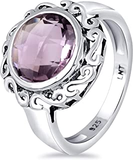 Brown Smoky Quartz, Purple, Pink And Green Amethyst, Pink Rose Quartz 3.22 Ct Round 925 Sterling Silver Filigree Ring East...