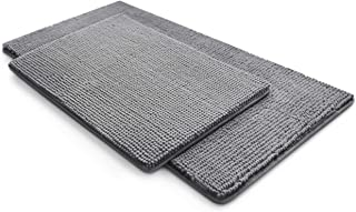 MICRODRY Chenille Hyper Absorbent Charcoal Infused Memory Foam Bath Mat with GripTex Skid Resistant Base (Chrome, 2-Piece ...