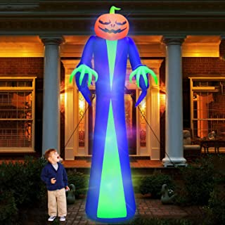 12Ft Giant Halloween Inflatables Pumpkin Halloween Decorations Inflatables with LED Light Sandbags Stakes Strings Hallowee...