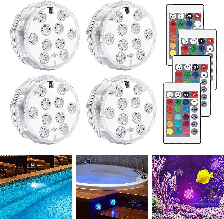 Luz Sumergible Piscina LED, LEDGLE Luz Piscina Impermeable, 16 RGB Multicolor con Mando a Distancia, Luz Subacuática para Estanque, Acuario, Fuente, Jardín, Fiesta, Base de Jarrón (4Pcs)