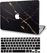 LuvCase 2 in 1 Bundle Plastic Hard Shell Case with Keyboard Cover Compatible Newest MacBook Pro 13 inch A2159/A1989/A1706/A1708 with/Without Touch Bar, 2019/18/17/16 Release (Black Gold Marble)