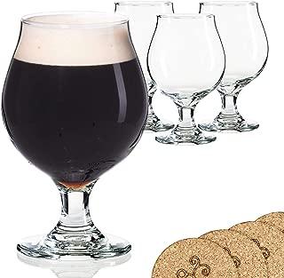 Libbey Beer Glass Belgian Style Stemmed Tulip - 13 oz Lambic Beer Glasses - set of 4 w/coasters