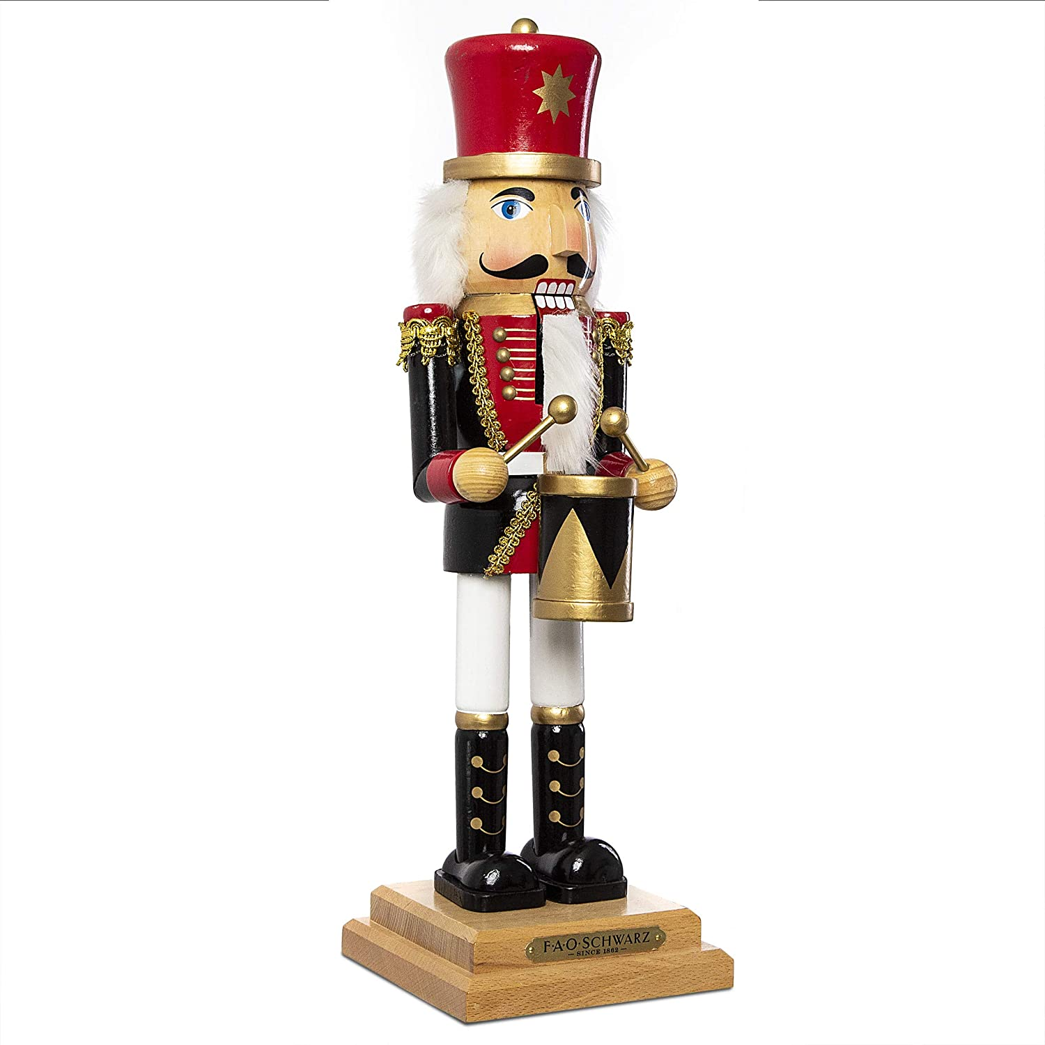 """FAO black 20"""" Inch Nutcracker Drummer Prince, Articulated Moving Jaw Lever, Solid Wood Construction and Hand-Painted Details, Classic Toy Soldier Style for Holidays and Christmas"""