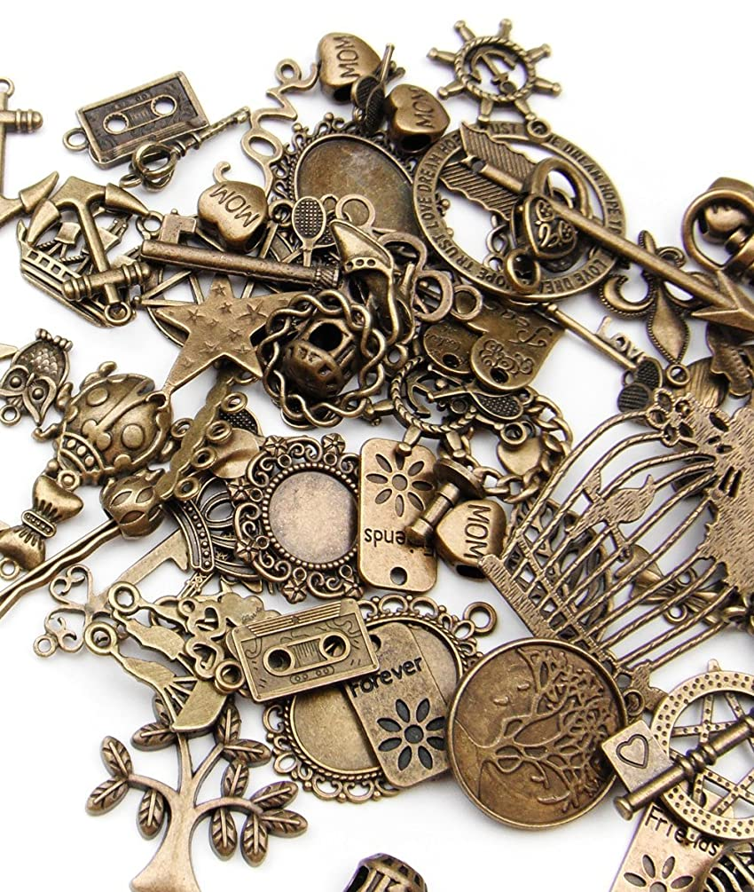 ALL in ONE Mixed Antique Bronze Alloy Pendants Beads Charms Chains Connectors Jewelry Findings (Mixed Color 500 gram)
