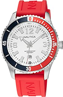 Nautica Men's Stainless Steel Quartz Silicone Strap, Red, 22 Casual Watch (Model: NAPPBS160)
