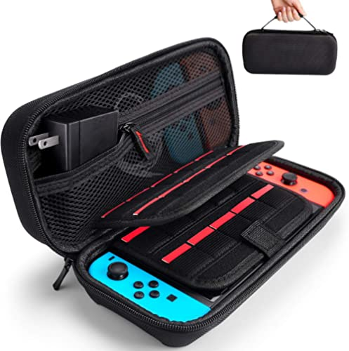 Deruitu Carrying Case for Nintendo Switch - Fit Original Charger AC Adapter - with 20 Game Cartridges Hard Shell Trav...