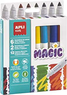 Apli kids 16808-8 feutres Magic - 6 couleurs + 2 magique