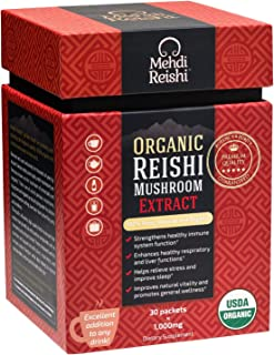 Organic Reishi Mushroom Extract Powder by Mehdi Reishi– 30 Servings, 1,000mg–100% Pure, Authentic and Organic Medicinal Powders –Ganoderma Lucidum, Lingzhi – Beta Glucan 20%+ Potency