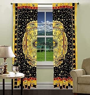 GDONLINE Indian Mandala Curtain Hippie Bohemian Handmade Tie Dye Horoscope Curtains Include 2 Panel Set Drapes Valances Window Treatment Curtain