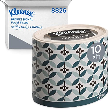 Kleenex 08826000 8826 Cajas de Pañuelos Ovaladas, 10 Paquetes de 64 hojas, 3 Capas, Suaves y Resistentes, Sin Fragancia, Color: Blanco, Collection