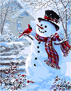 Antiniska DIY Paint by Numbers for Adults Kids DIY Painting Paint by Numbers Christmas Acrylic Paint by Numbers Painting Kit Christmas Snowman Bedroom Living Room Decoration for Home Wall Decor