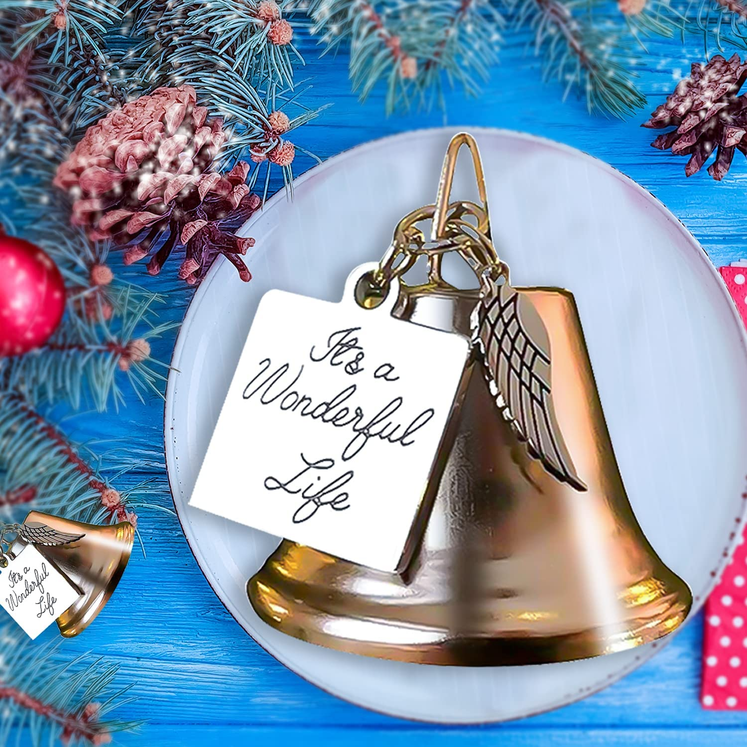 NewX Christmas Bell Ornament Bulk Angel Wing Charm with Stainless Steel Christmas Angel Bell Wonderful Life Bells Christmas Tree Remembrance