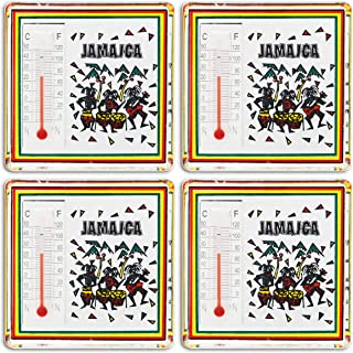 Jamaica thermometer Magnets - Refrigerator Magnets 4 Set - Makes a Great Collectible Souvenir or Gift! …