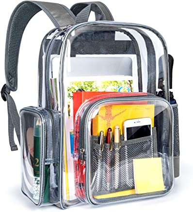 Packism Clear Backpack, Heavy Duty Clear Backpack for Adults with Reinforced Straps Student Book Bag Transparent Backpack for School, Security, Stadiums, Work