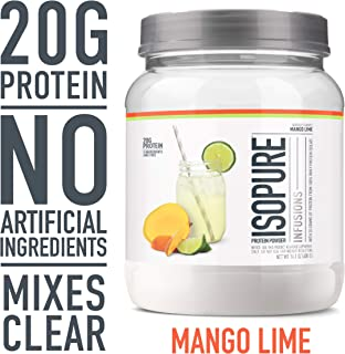 """Isopure Refreshingly Light Fruit Flavored Whey Protein Isolate Powder, """"Shake Vigorously & Infuses in a Minute"""", Mango Lime, 16 Servings"""