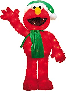 ProductWorks 32-Inch Pre-Lit 3D Sesame Street Waving Elmo Christmas Yard Decoration, 70 Lights