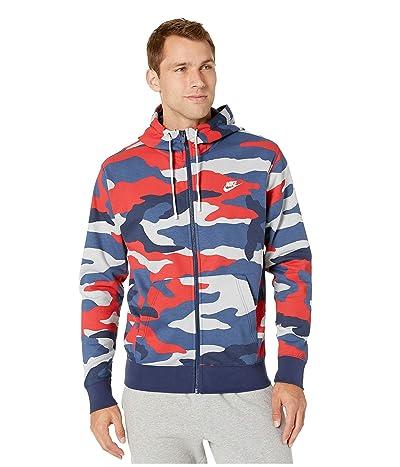Nike NSW Club Hoodie Full Zip Camouflage (Wolf Grey/Midnight Navy/Summit White) Men