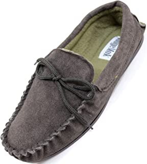 Mens Traditional Genuine Suede Leather Moccasin/Slippers with Rubber Sole