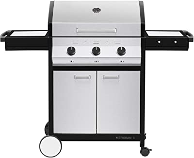 Cadac, 2-Door Cart, and Side Tables, Stainless Steel, 98510-31-01-US Meridian 3 Propane Gas BBQ Grill with 3 Burners