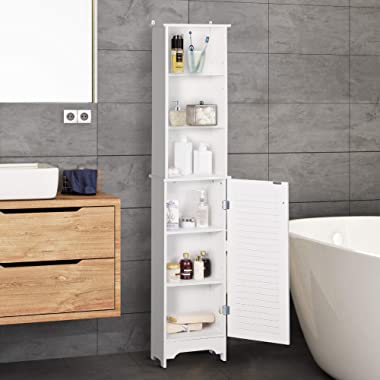 HOMCOM Tall Bathroom Storage Cabinet/Freestanding Linen Tower with 3-Tier Open Adjustable Shelf and Cupboard, White
