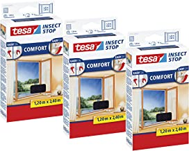 Tesa Insect Stop Comfort Vliegengaas voor ramen, insectenbescherming met klittenband, zelfklevend, vliegen net zonder bore...