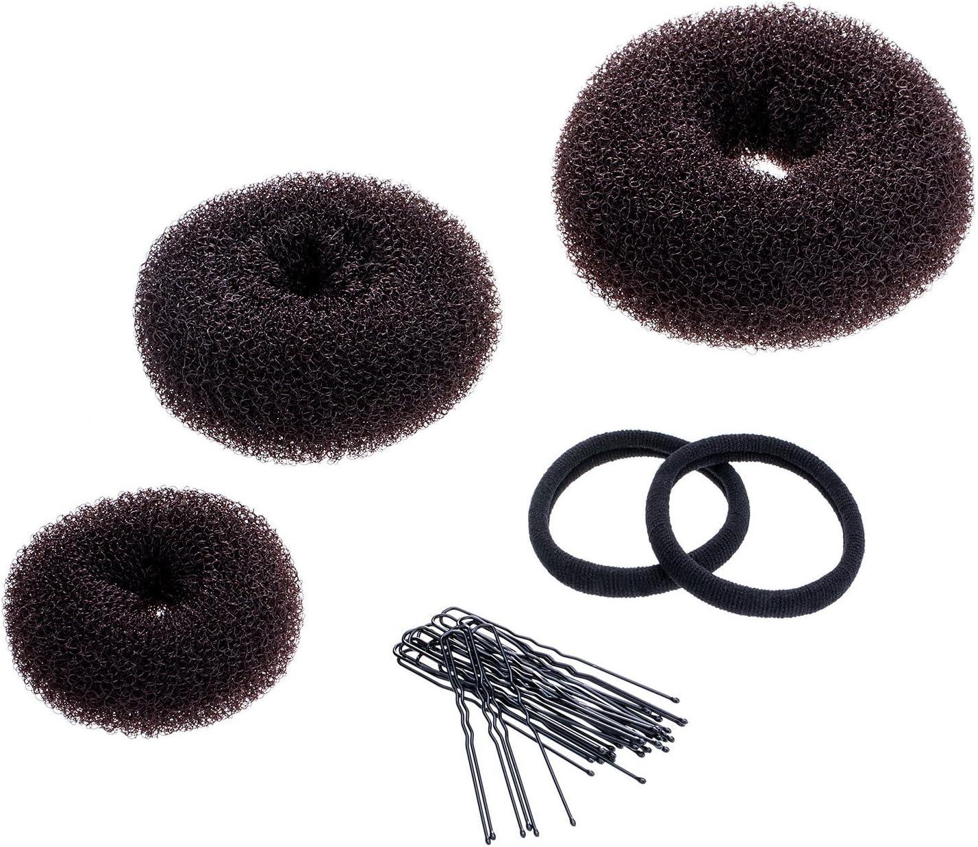 3 Piezas Anillo de Donut de Moño Juego para Hacer Moño Incluye Grande, Medio y Pequeño (Marrón)