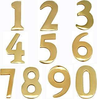 ADDRESSES OF DISTINCTION 4 Customized 2-Inch Brass Mailbox Numbers – Pick Your Numbers - Self Adhesive – Williamsburg Font – Won't Tarnish – Numbering for Address Plaque (4, 2-Inch Numbers)