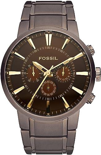 Fossil Million Dollar / Montre chronographe homme en acier inoxydable marron - Aiguilles dorées chromées - Boîte de r...