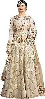 THE FASHION EDGE Women's Silk Anarkali Salwar Suit (F1217, Beige, Free Size)