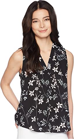 Petite Sleeveless Botanical Flora V-Neck Blouse