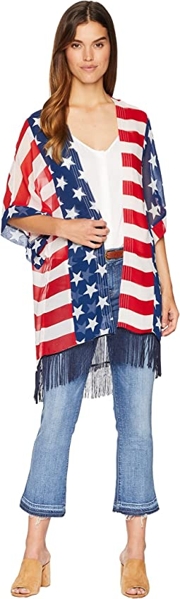 Americana Kimono with Fringe