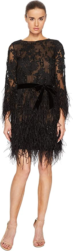 Marchesa - Long Sleeve Lace Tunic w/ Ao Beaded Embellishment and Feather Embroidery