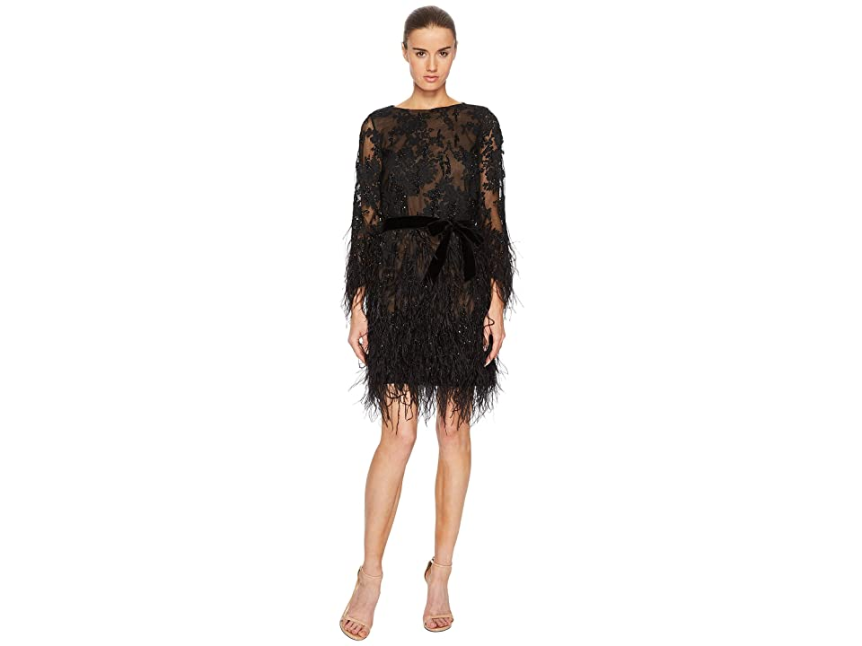 Marchesa Long Sleeve Lace Tunic w/ Ao Beaded Embellishment and Feather Embroidery (Black) Women