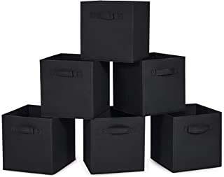 MaidMAX Cloth Storage Cubes Bins with Dual Handles for Home Closet Nursery Drawers Organizer, Foldable, Black, 10.5×10.5×11 inches, Set of 6