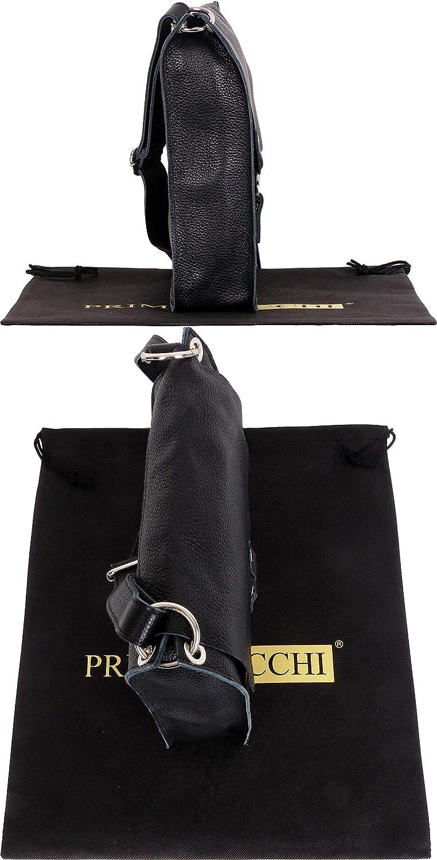 Primo Sacchi Sac à bandoulière et bandoulière style messager en cuir texturé doux italien pour femme avec fermeture magnétique Noir