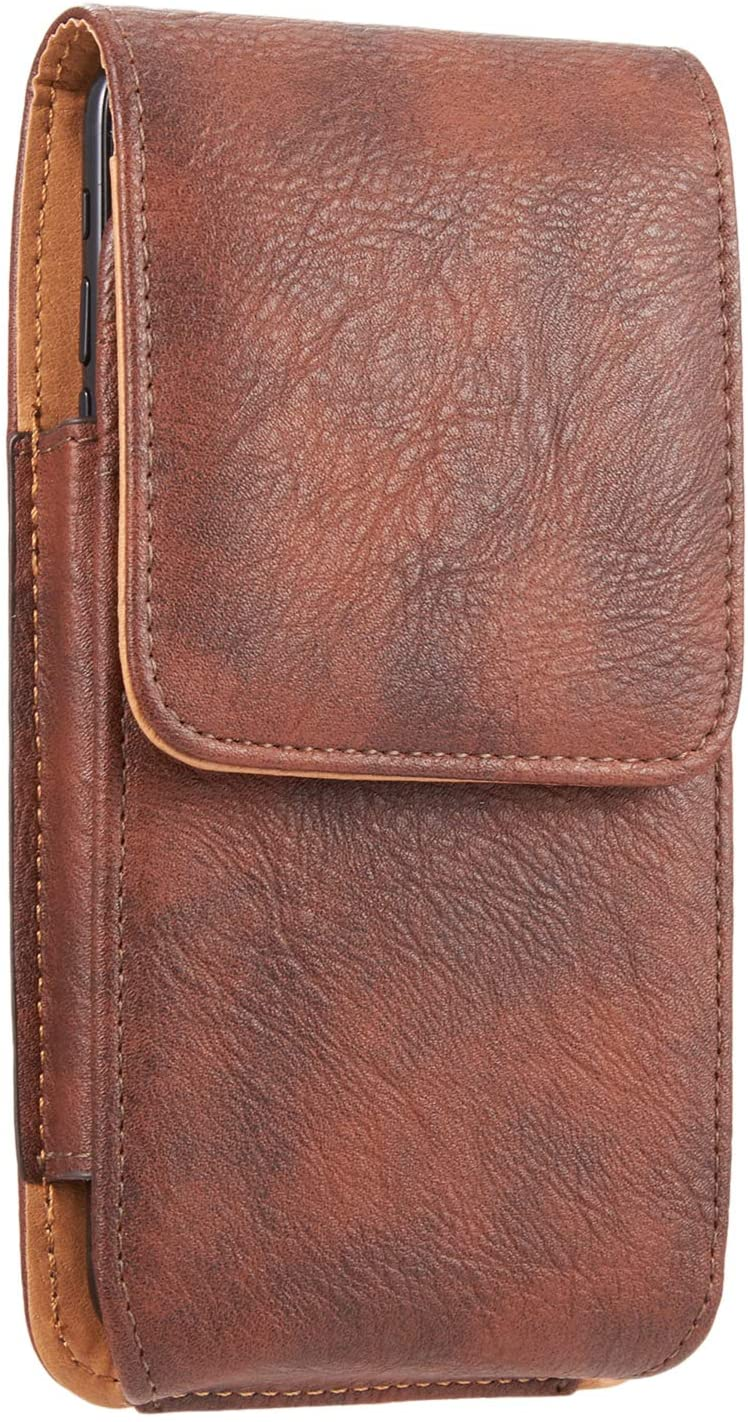 kiwitatá for iPhone 11 Pro Max Holster, Vertical PU Leather Protective Carrying Cell Phone Belt Case with Card Slots for iPhone 8 Plus 7 Plus iPhone 11 12 XR XS Max (Brown)