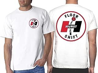 Hurst 60's Floor Shift White T-Shirt: Shifter Wheels Decal Vintage Drag Gasser